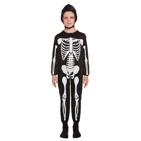 Children Skeleton Printed Costume Kids Halloween Fancy Dress Party Wear Outfit