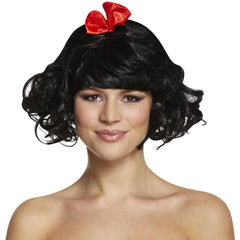 Ladies Snow Princess Black Wig With Red Bow Book Week Fancy Dress Accessory