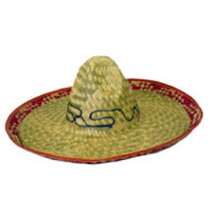 Adult Sombrero Embroidered Straw Hat Adults Mens Fancy Dress Costume Accessory