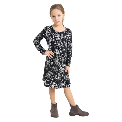 Girls Spider Web Printed Black Swing Top Fancy Dress