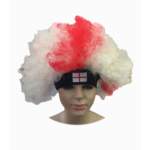 England Supporters St George Cross Curly Wig Novelty Hair Fancy Dress Accessory