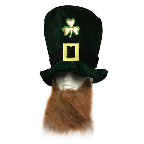 St Patricks Eire Shamrock Velvet Deluxe Hat With Ginger Beard Irish Leprechaun