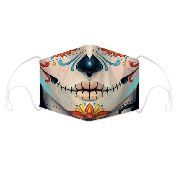 Suture Lips Print Face Mask With Filter Pocket
