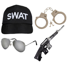 Swat Team Fancy Dress 4Pcs Cap Hat Glasses Handcuffs Inflatable Gun Costume