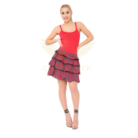 Women's Red Tartan Skirt Pleated Check School Skirts