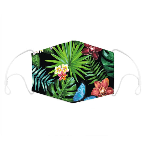 Tropical Leaf Flower Print Face Mask With Filter Pocket