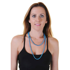 Turquoise Plastic Bead Necklace Womens Ladies 80's Parties Fancy Dress Costume Accessory