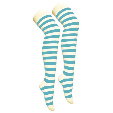Women Turquoise White Over The Knees Stripe Socks