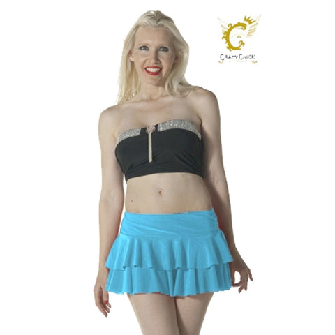 Women Turquoise RARA Two Tier Frill Mini Skirt