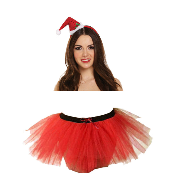 Christmas Ladies Red 3 Layers TuTu Skirt With Mini Santa Headband Xmas Set