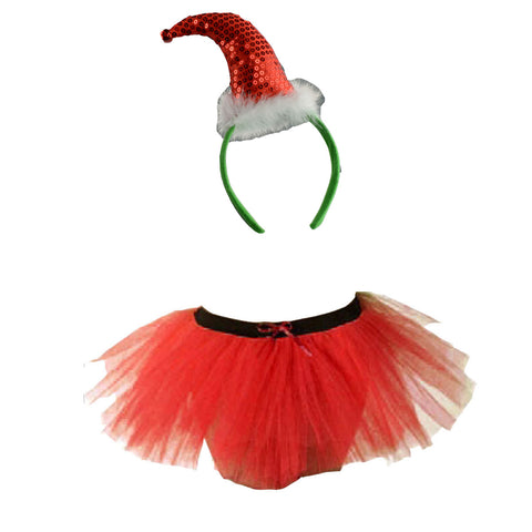 Christmas Girls Red 3 Layers TuTu Skirt With Sequin Santa Headband Xmas Set