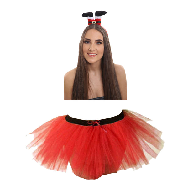 Christmas Girls Red 3 Layers TuTu Skirt With Santa Legs Headband Xmas Set