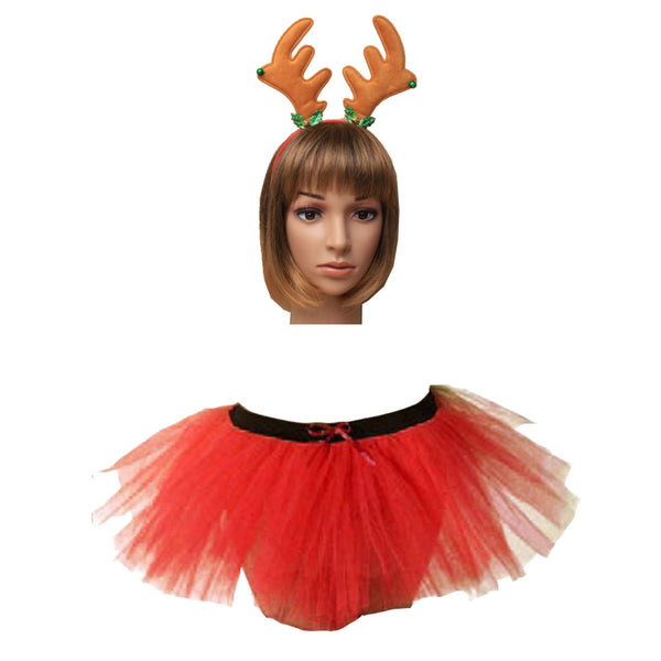 Christmas Girls Red 3 Layers TuTu Skirt With Horns Headband Xmas Set