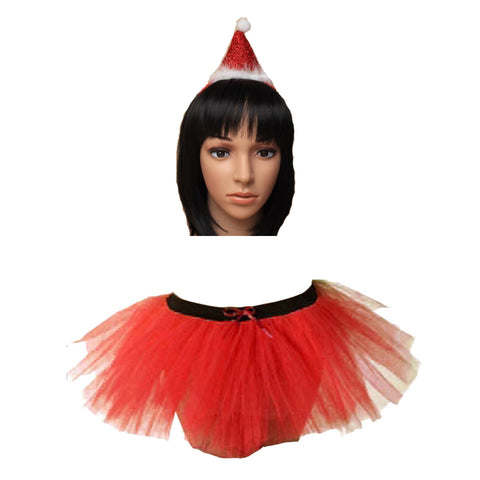 Christmas Girls Red 3 Layers TuTu Skirt With Metallic Santa Headband Xmas Set