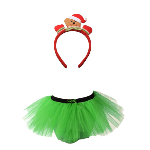 Christmas Girls Green 3 Layers TuTu Skirt With Teddy Bear Headband Xmas Set