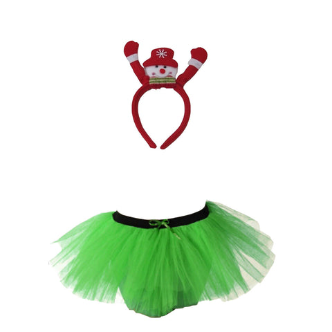 Christmas Girls Green 3 Layers TuTu Skirt With Snowman Headband Xmas Set
