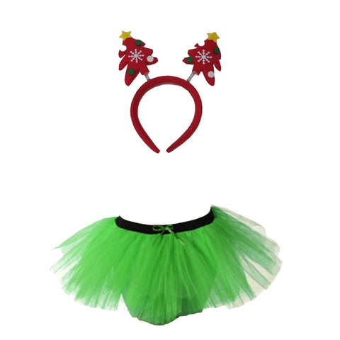 Christmas Girls Green 3 Layers TuTu Skirt With Tree Headband Xmas Set