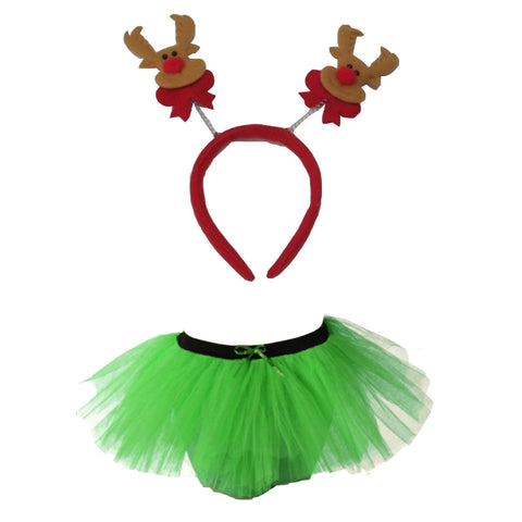 Christmas Girls Green 3 Layers TuTu Skirt With Reindeer Headband Xmas Set