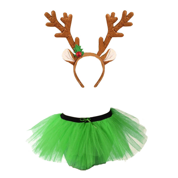 Christmas Girls Green 3 Layers TuTu Skirt With Reindeer Antlers Headband Xmas Set
