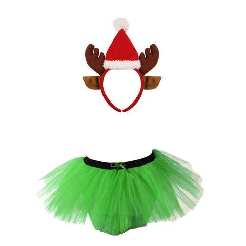 Christmas Girls Green 3 Layers TuTu Skirt With Reindeer Antlers Santa Headband Xmas Set