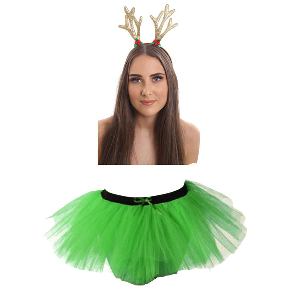 Christmas Girls Green 3 Layers TuTu Skirt With Gold Reindeer Antlers Santa Headband Xmas Set