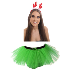 Christmas Ladies Green 3 Layers TuTu Skirt With Reindeer Antlers Headband Xmas Set