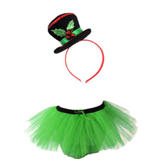 Christmas Girls Green 3 Layers TuTu Skirt With Mini Snowman Santa Headband Xmas Set