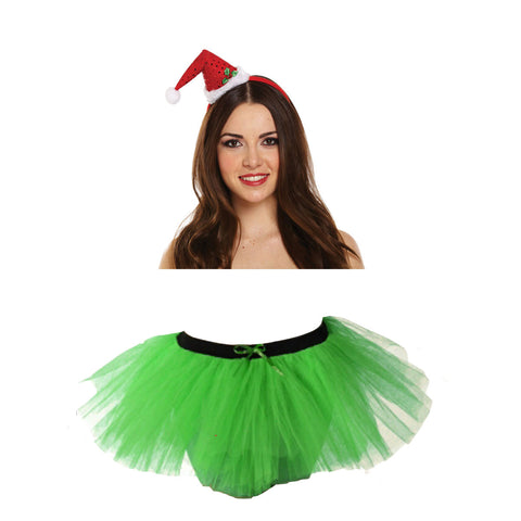 Christmas Girls Green 3 Layers TuTu Skirt With Mini Santa Headband Xmas Set