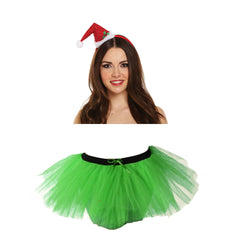 Christmas Ladies Green 3 Layers TuTu Skirt With Mini Santa Headband Xmas Set
