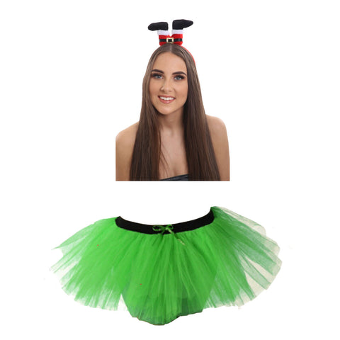 Christmas Girls Green 3 Layers TuTu Skirt With Santa Legs Headband Xmas Set