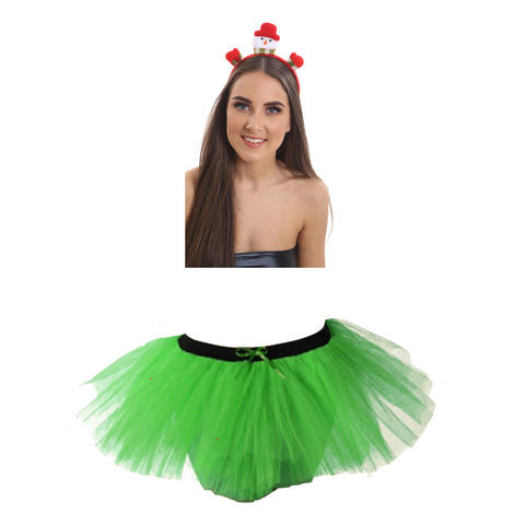 Christmas Girls Green 3 Layers TuTu Skirt With Snowman Santa Headband Xmas Set