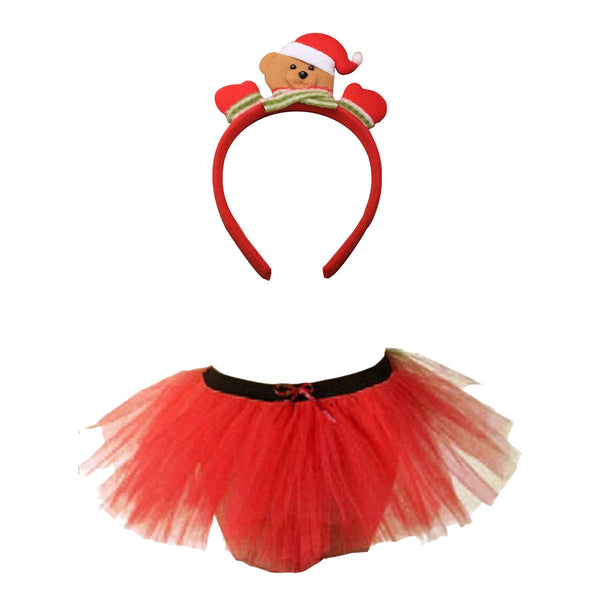 Christmas Girls Red 3 Layers TuTu Skirt With Teddy Bear Headband Xmas Set