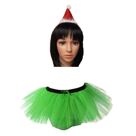 Christmas Girls Green 3 Layers TuTu Skirt With Metallic Red Santa Headband Xmas Set