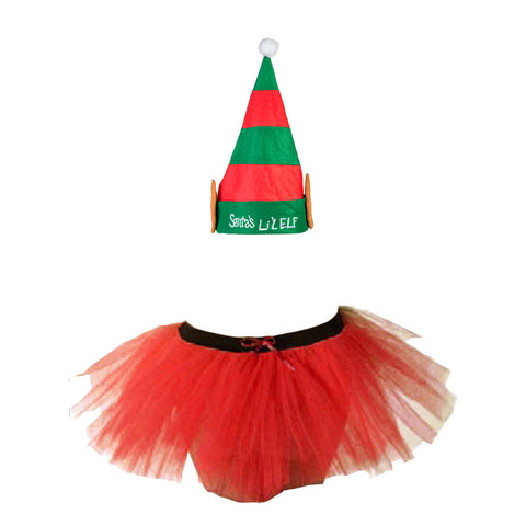 Christmas Girls Red 3 Layers TuTu Skirt With Santa Lil' Elf Hat Xmas Set