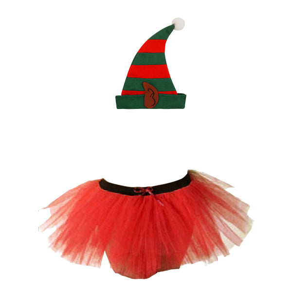 Christmas Girls Red 3 Layers TuTu Skirt With Santa Elf Ear Hat Xmas Set