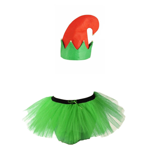 Christmas Ladies Green 3 Layers TuTu Skirt With Elf Hat With Bells Xmas Set