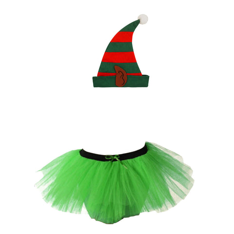 Christmas Girls Green 3 Layers TuTu Skirt With Santa Elf Ear Hat Xmas Set