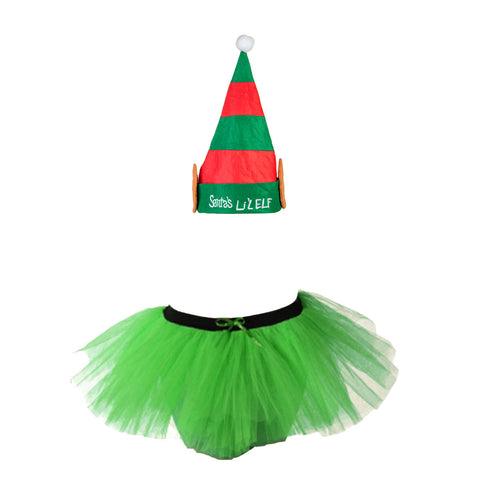 Christmas Girls Green 3 Layers TuTu Skirt With Metallic Santa Lil' Elf Hat Xmas Set