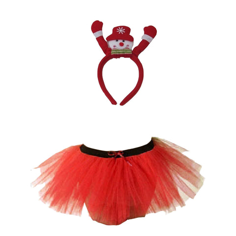 Christmas Girls Red 3 Layers TuTu Skirt With Snowman Headband Xmas Set