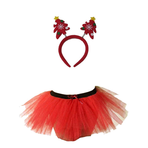 Christmas Girls Red 3 Layers TuTu Skirt With Tree Headband Xmas Set