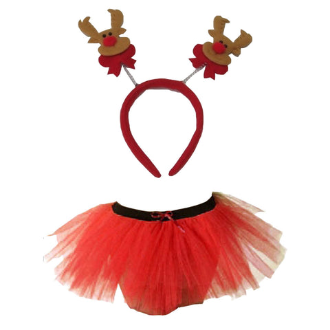 Christmas Girls Red 3 Layers TuTu Skirt With Reindeer Headband Xmas Set
