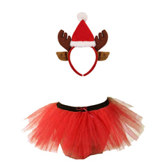 Christmas Girls Red 3 Layers TuTu Skirt With Reindeer Santa Headband Xmas Set