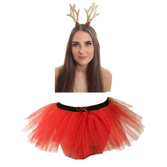 Christmas Ladies Red 3 Layers TuTu Skirt With Reindeer Antlers Headband Xmas Set