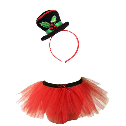 Christmas Girls Red 3 Layers TuTu Skirt With Mini Snowman Headband Xmas Set