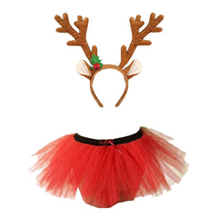 Christmas Girls Red 3 Layers TuTu Skirt With Reindeer Antlers Headband Xmas Set