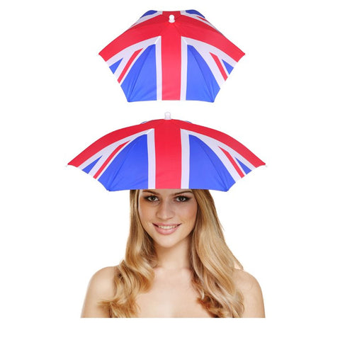 Adult Union Jack Novelty Umbrella Sun Hat Fishing Camping Festivals Fancy Dress