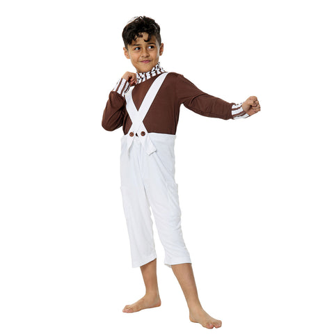 Children Chocolate Factory Worker Costume Kids Book Week Film Character Fancy Dress
