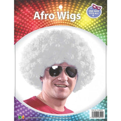 Adults White Afro Wig Curly Fancy Dress Funky Disco Clown Style 70s Hair