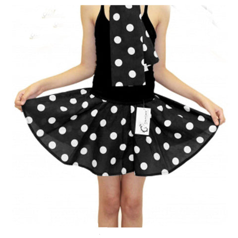 Girls Black White Polka Dot Skirt Fancy Dress School Skirts