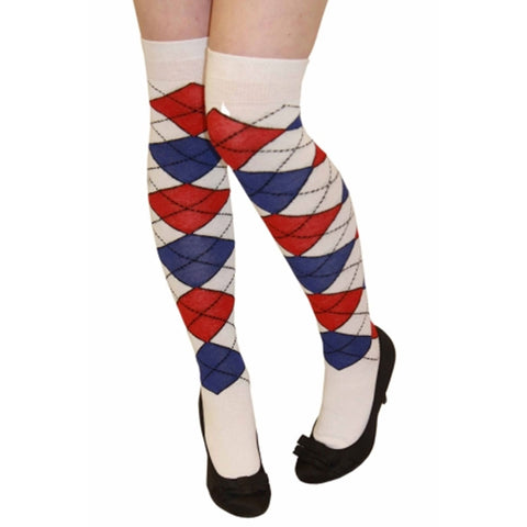 Women White Blue And Red Argyle Over The Knees Socks